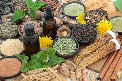 Food collection with herbs, spices, essential oil and supplement powders. Used in herbal medicine