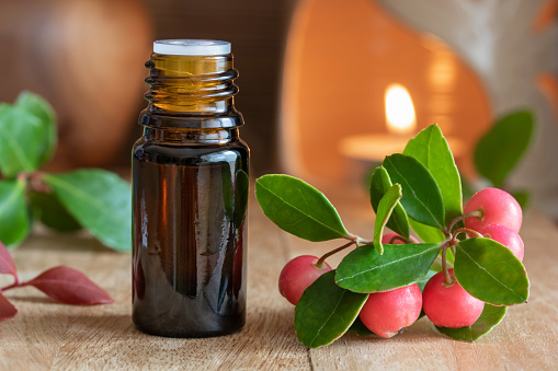 A bottle of wintergreen essential oil with wintergreen leaves and berries